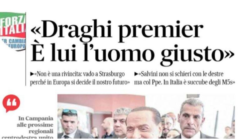 Berlusconi lancia Mario Draghi per il ruolo di Premier.